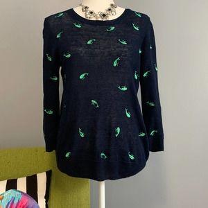 J Crew Blue Linen Sweater Green Whales